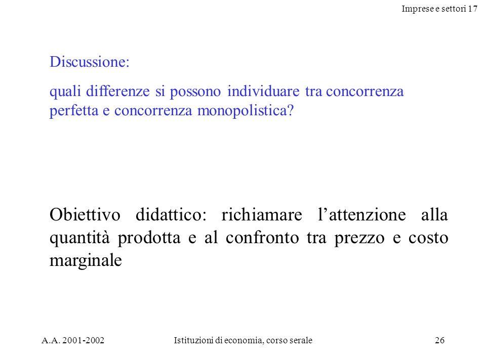 Imprese e settori 17 A.A. 2001-2002Istituzioni di economia, corso serale26 Discussione: quali differenze si possono individuare tra concorrenza perfet