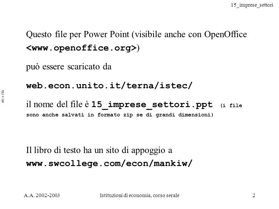 15_imprese_settori A.A. 2002-2003Istituzioni di economia, corso serale2 Questo file per Power Point (visibile anche con OpenOffice ) può essere scaric