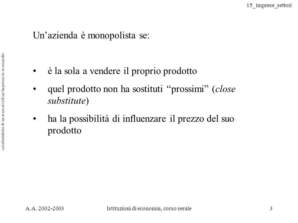 15_imprese_settori A.A. 2002-2003Istituzioni di economia, corso serale3 Unazienda è monopolista se: è la sola a vendere il proprio prodotto quel prodo