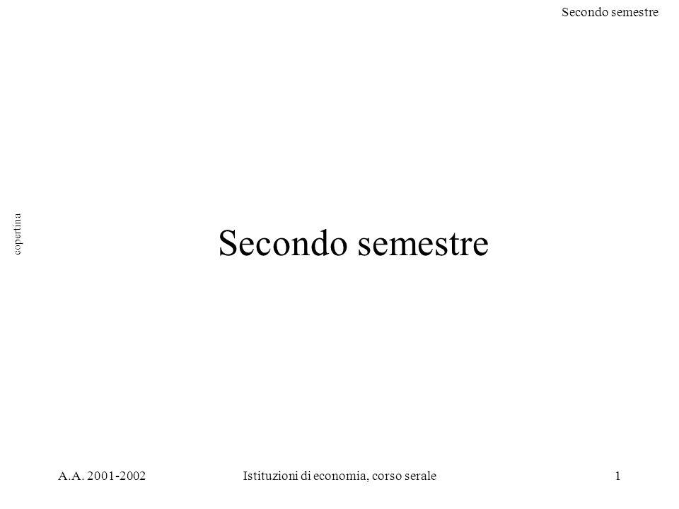 Secondo semestre A.A. 2001-2002Istituzioni di economia, corso serale1 Secondo semestre copertina