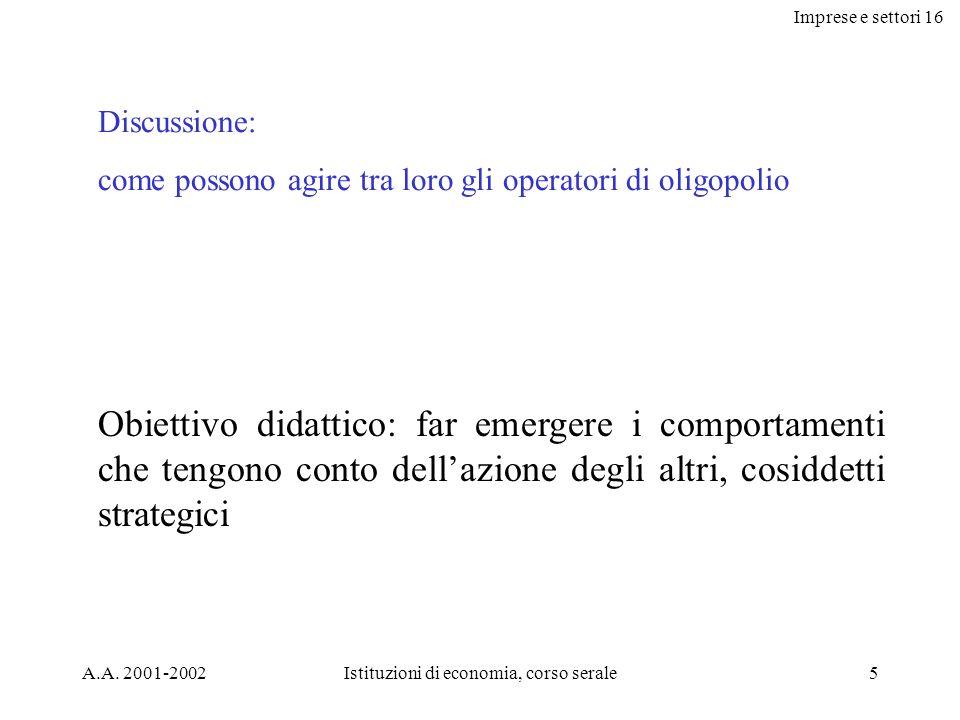 Imprese e settori 16 A.A.