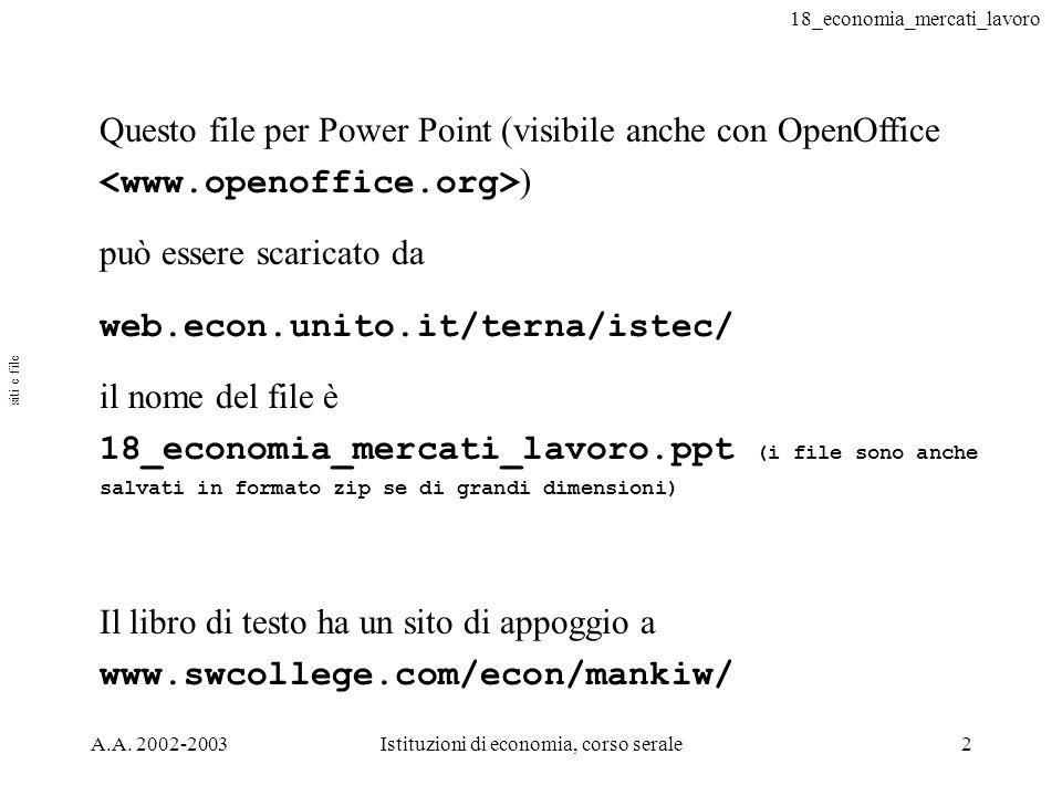 18_economia_mercati_lavoro A.A. 2002-2003Istituzioni di economia, corso serale2 Questo file per Power Point (visibile anche con OpenOffice ) può esser