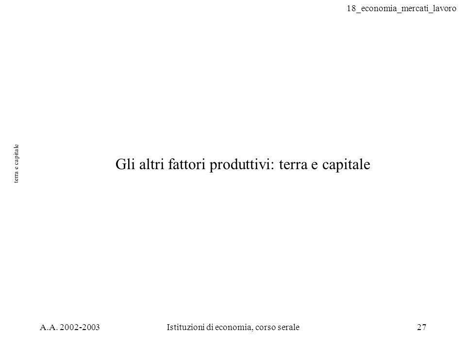 18_economia_mercati_lavoro A.A. 2002-2003Istituzioni di economia, corso serale27 terra e capitale Gli altri fattori produttivi: terra e capitale