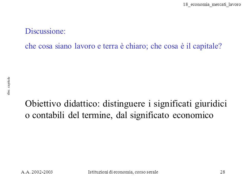18_economia_mercati_lavoro A.A. 2002-2003Istituzioni di economia, corso serale28 disc. capitale Discussione: che cosa siano lavoro e terra è chiaro; c