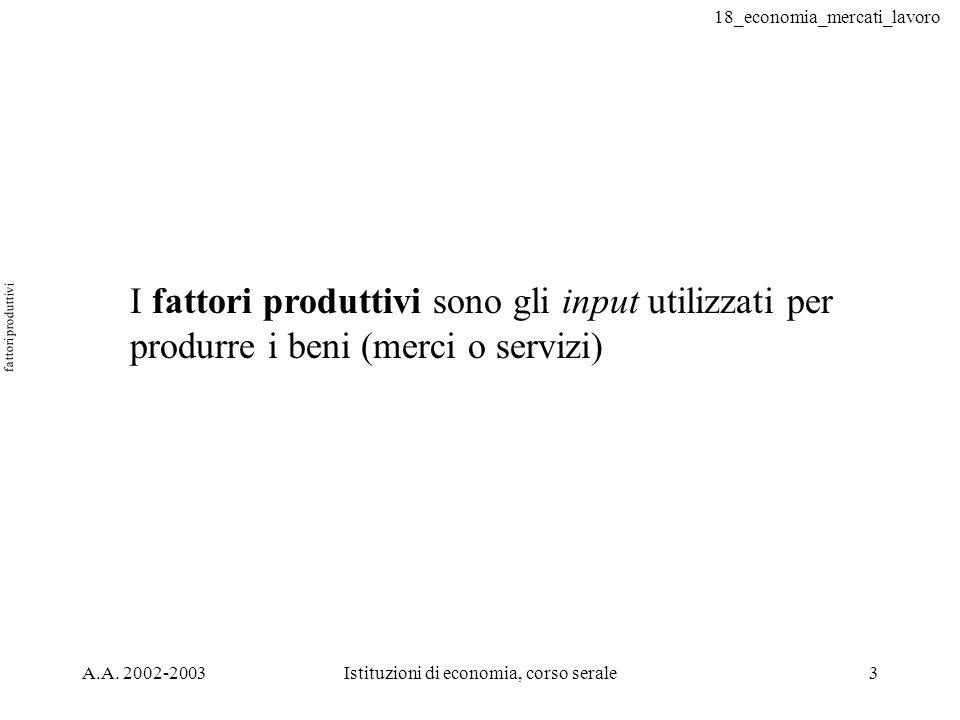 18_economia_mercati_lavoro A.A. 2002-2003Istituzioni di economia, corso serale3 fattori produttivi I fattori produttivi sono gli input utilizzati per