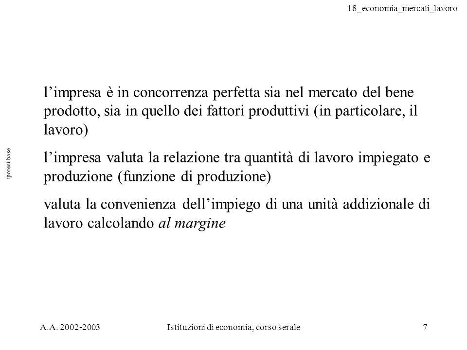 18_economia_mercati_lavoro A.A. 2002-2003Istituzioni di economia, corso serale7 ipotesi base limpresa è in concorrenza perfetta sia nel mercato del be