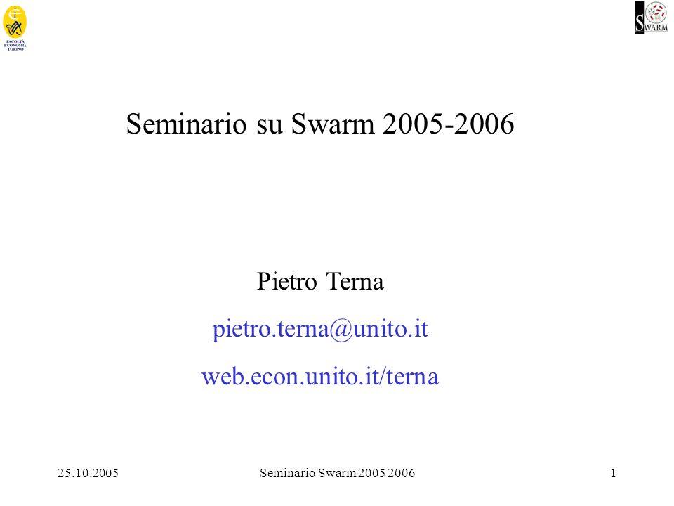 22 Swarm = biblioteca di funzioni e protocollo duso (lesempio fa riferimento ad uno dei capitoli del tutorial, simpleObserverBug2) modelSwarm build objects schedule object step activate glue run modelSwarm grid...