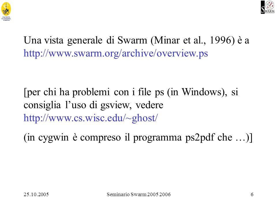 25.10.2005Seminario Swarm 2005 20067 Una introduzione in italiano a Swarm (sia nella versione Objective C, sia in quella Java, si trova a: http://alex.unipmn.it/activities/corso.html (ad opera di Marie- Edith Bissey) Un tutorial molto interessante (University of Essex, Centre for Computational Finance and Economic Agents) si trova a: http://www.essex.ac.uk/ccfea/swarm/SwarmTutorial/web/swarm _tutorial.htm Una introduzione (userbook in ps) tecnica è a eco83.econ.unito.it/swarm/materiale/manIntrSwarm/userbook-0.9-html.tar.gz