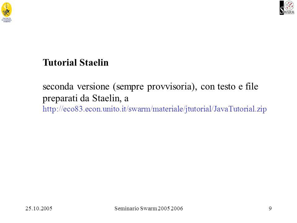 25.10.2005Seminario Swarm 2005 200620 Competitori di Swarm: JAS, http://jaslibrary.sourceforge.net/ Ascape, http://www.brook.edu/dynamics/models/ascape/ Repast, http://repast.sourceforge.net/ Starlogo, http://el.www.media.mit.edu/groups/el/Projects/starlogo/ NetLogo, http://www.ccl.sesp.northwestern.edu/netlogo/ SDML (fondato su SmallTalk, ma soprattutto sulla programmazione dichiarativa vs.