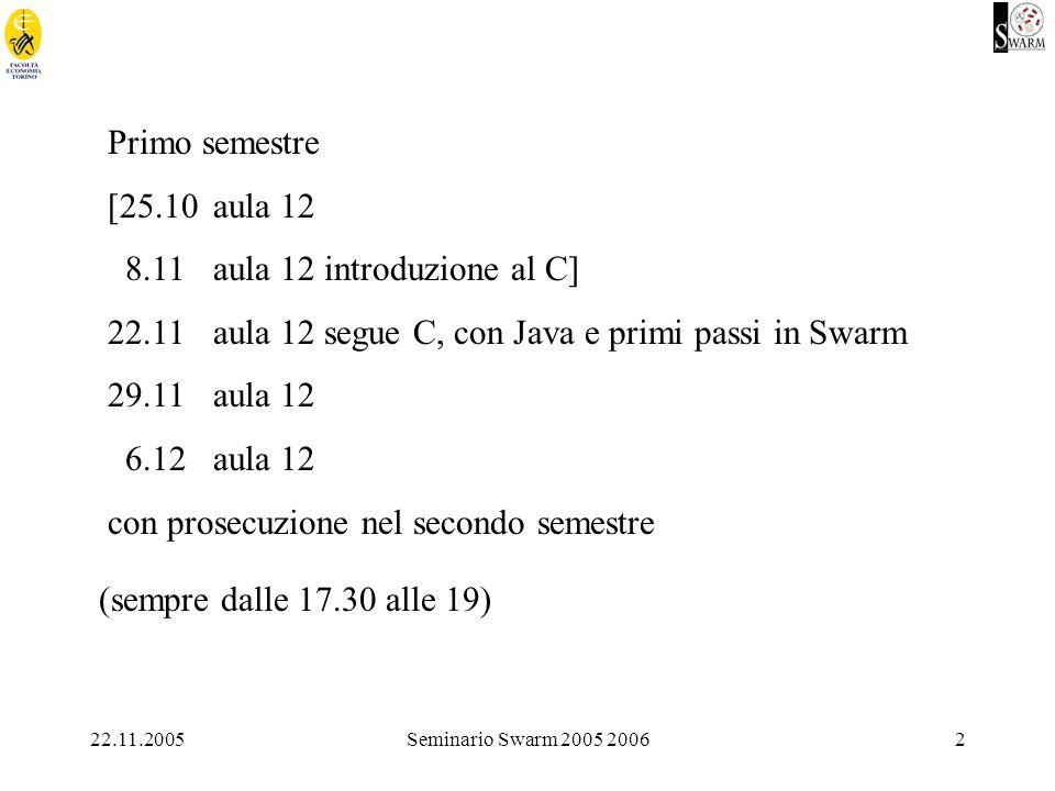 22.11.2005Seminario Swarm 2005 20062 Primo semestre [25.10aula 12 8.11aula 12 introduzione al C] 22.11aula 12 segue C, con Java e primi passi in Swarm 29.11aula 12 6.12aula 12 con prosecuzione nel secondo semestre (sempre dalle 17.30 alle 19)