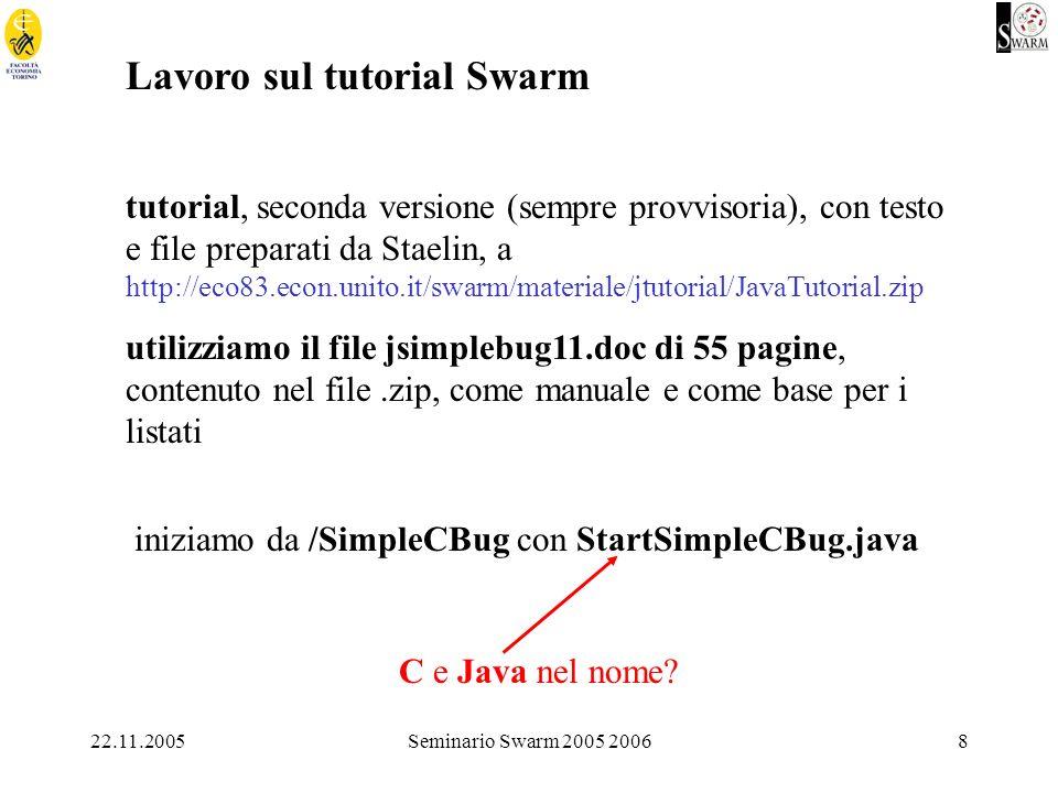 22.11.2005Seminario Swarm 2005 20068 Lavoro sul tutorial Swarm tutorial, seconda versione (sempre provvisoria), con testo e file preparati da Staelin, a http://eco83.econ.unito.it/swarm/materiale/jtutorial/JavaTutorial.zip utilizziamo il file jsimplebug11.doc di 55 pagine, contenuto nel file.zip, come manuale e come base per i listati iniziamo da /SimpleCBug con StartSimpleCBug.java C e Java nel nome