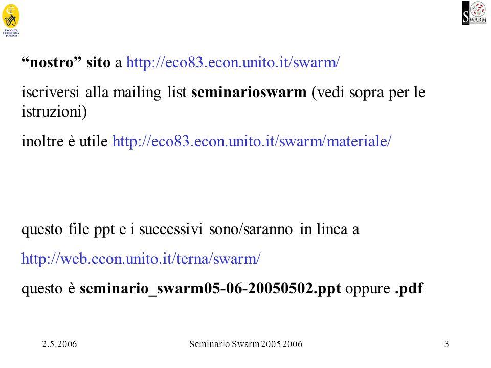 2.5.2006Seminario Swarm 2005 20063 nostro sito a http://eco83.econ.unito.it/swarm/ iscriversi alla mailing list seminarioswarm (vedi sopra per le istruzioni) inoltre è utile http://eco83.econ.unito.it/swarm/materiale/ questo file ppt e i successivi sono/saranno in linea a http://web.econ.unito.it/terna/swarm/ questo è seminario_swarm05-06-20050502.ppt oppure.pdf