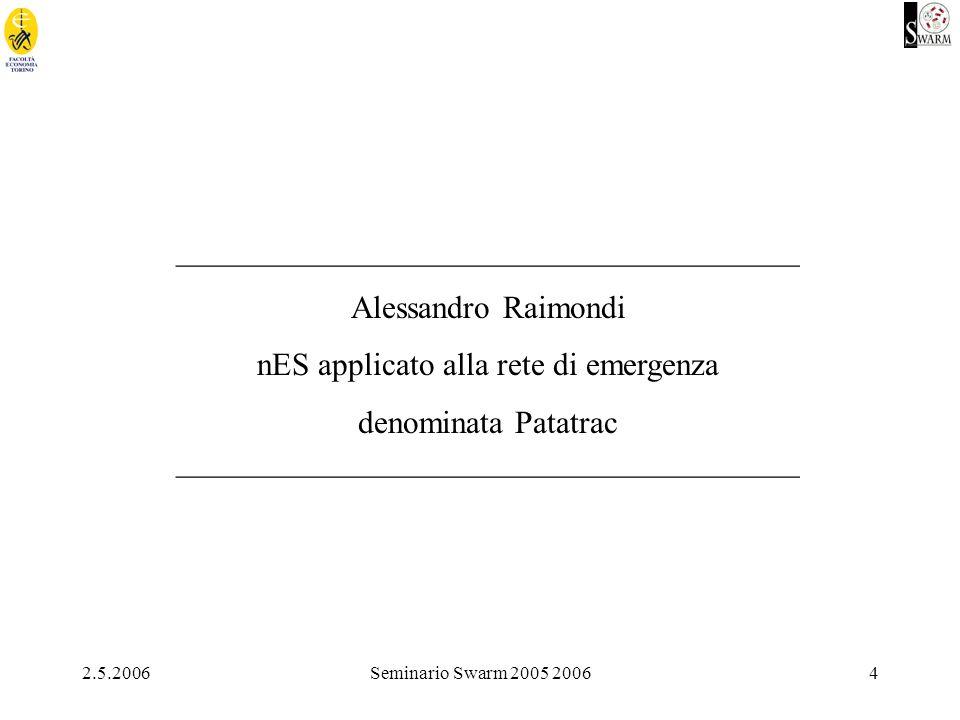 2.5.2006Seminario Swarm 2005 20064 _______________________________________ Alessandro Raimondi nES applicato alla rete di emergenza denominata Patatrac _______________________________________