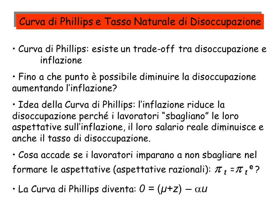 Curva di Phillips: esiste un trade-off tra disoccupazione e inflazione Fino a che punto è possibile diminuire la disoccupazione aumentando linflazione
