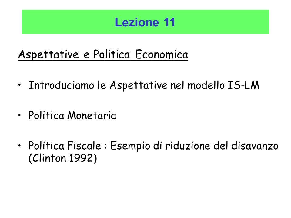 Lezione 11 Aspettative e Politica Economica Introduciamo le Aspettative nel modello IS-LM Politica Monetaria Politica Fiscale : Esempio di riduzione d