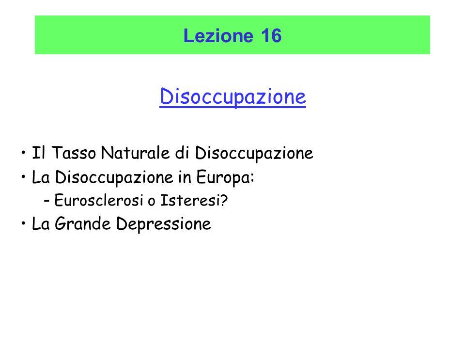 Disoccupazione Il Tasso Naturale di Disoccupazione La Disoccupazione in Europa: – Eurosclerosi o Isteresi? La Grande Depressione Lezione 16