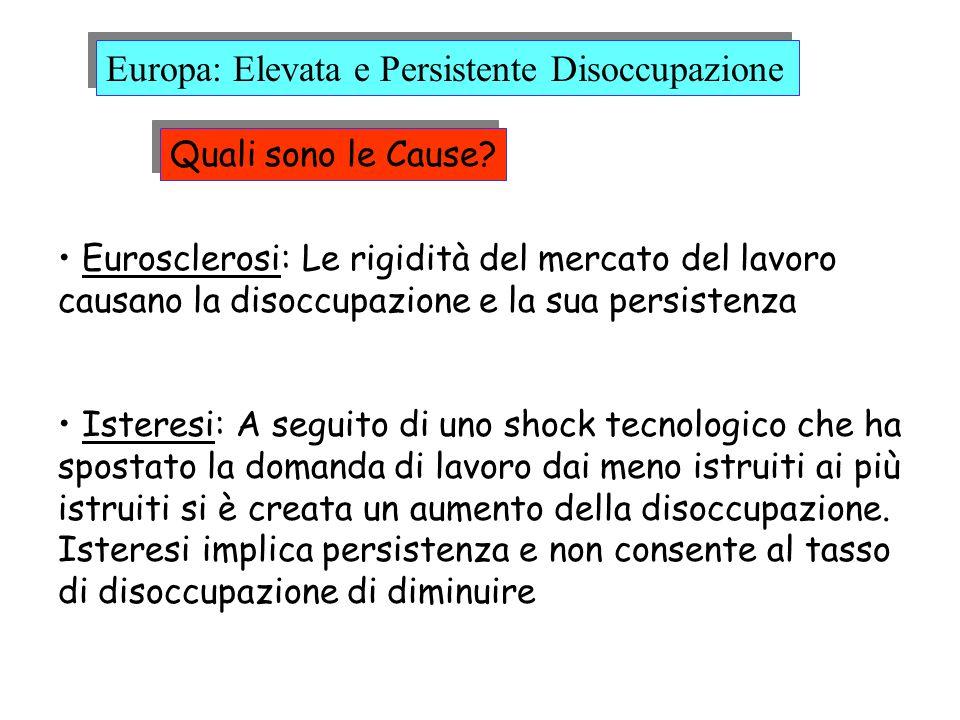 Quali sono le Cause? Eurosclerosi: Le rigidità del mercato del lavoro causano la disoccupazione e la sua persistenza Isteresi: A seguito di uno shock