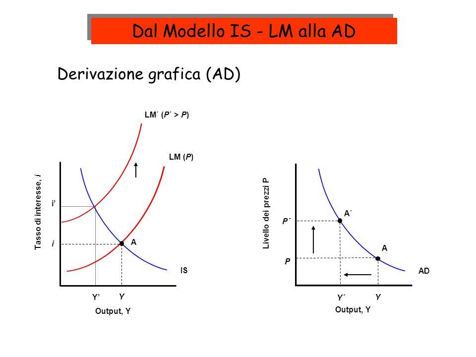 LM (P) IS Y i Tasso di interesse, i Output, Y Livello dei prezzi P Output, Y A AD Y A P LM´ (P´ > P) A´ P´ Y´ Derivazione grafica (AD) i Y Dal Modello