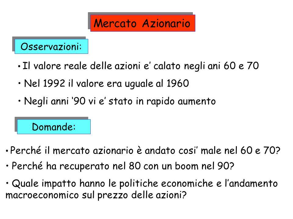 Osservazioni: Il valore reale delle azioni e calato negli ani 60 e 70 Nel 1992 il valore era uguale al 1960 Negli anni 90 vi e stato in rapido aumento
