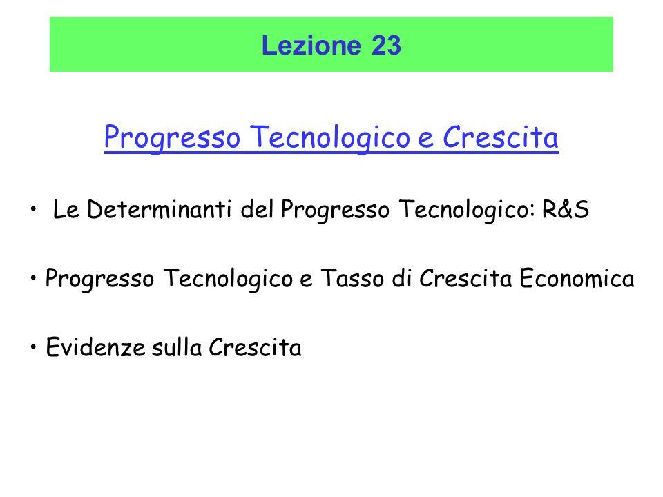 Progresso Tecnologico e Crescita Le Determinanti del Progresso Tecnologico: R&S Progresso Tecnologico e Tasso di Crescita Economica Evidenze sulla Cre
