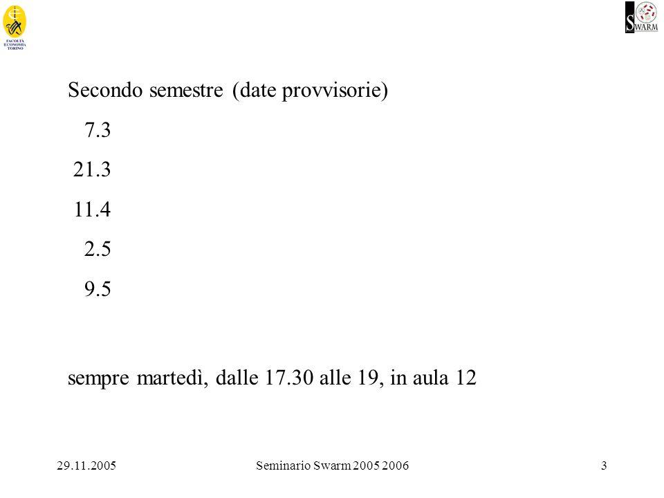 29.11.2005Seminario Swarm 2005 20063 Secondo semestre (date provvisorie) 7.3 21.3 11.4 2.5 9.5 sempre martedì, dalle 17.30 alle 19, in aula 12