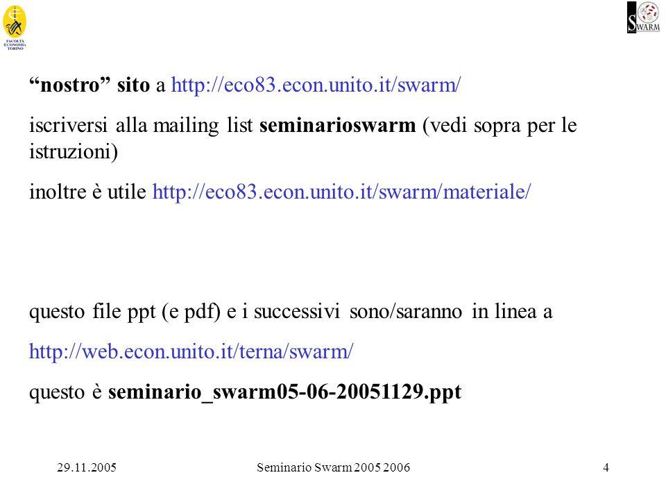 29.11.2005Seminario Swarm 2005 20064 nostro sito a http://eco83.econ.unito.it/swarm/ iscriversi alla mailing list seminarioswarm (vedi sopra per le istruzioni) inoltre è utile http://eco83.econ.unito.it/swarm/materiale/ questo file ppt (e pdf) e i successivi sono/saranno in linea a http://web.econ.unito.it/terna/swarm/ questo è seminario_swarm05-06-20051129.ppt