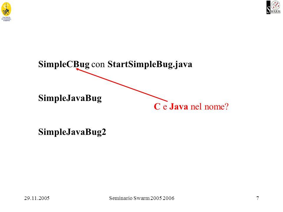 29.11.2005Seminario Swarm 2005 20067 SimpleCBug con StartSimpleBug.java SimpleJavaBug SimpleJavaBug2 C e Java nel nome
