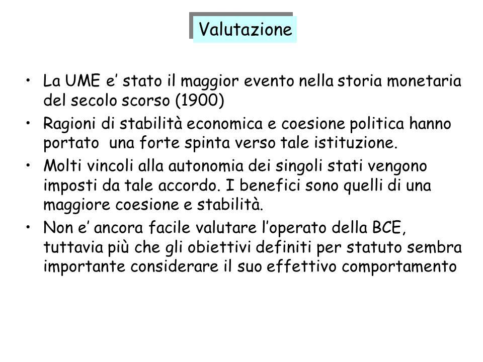 La UME e stato il maggior evento nella storia monetaria del secolo scorso (1900) Ragioni di stabilità economica e coesione politica hanno portato una
