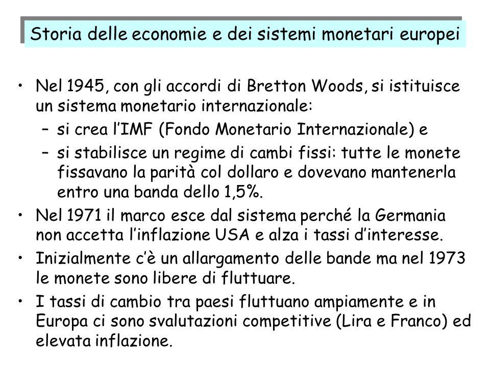 Nel 1945, con gli accordi di Bretton Woods, si istituisce un sistema monetario internazionale: –si crea lIMF (Fondo Monetario Internazionale) e –si st