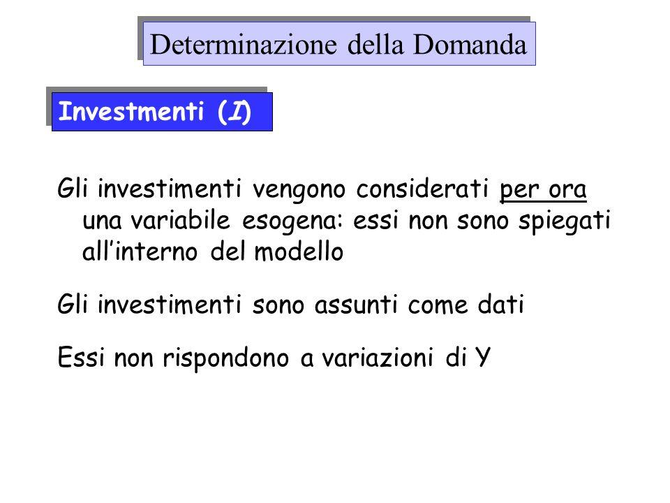 Gli investimenti vengono considerati per ora una variabile esogena: essi non sono spiegati allinterno del modello Gli investimenti sono assunti come d