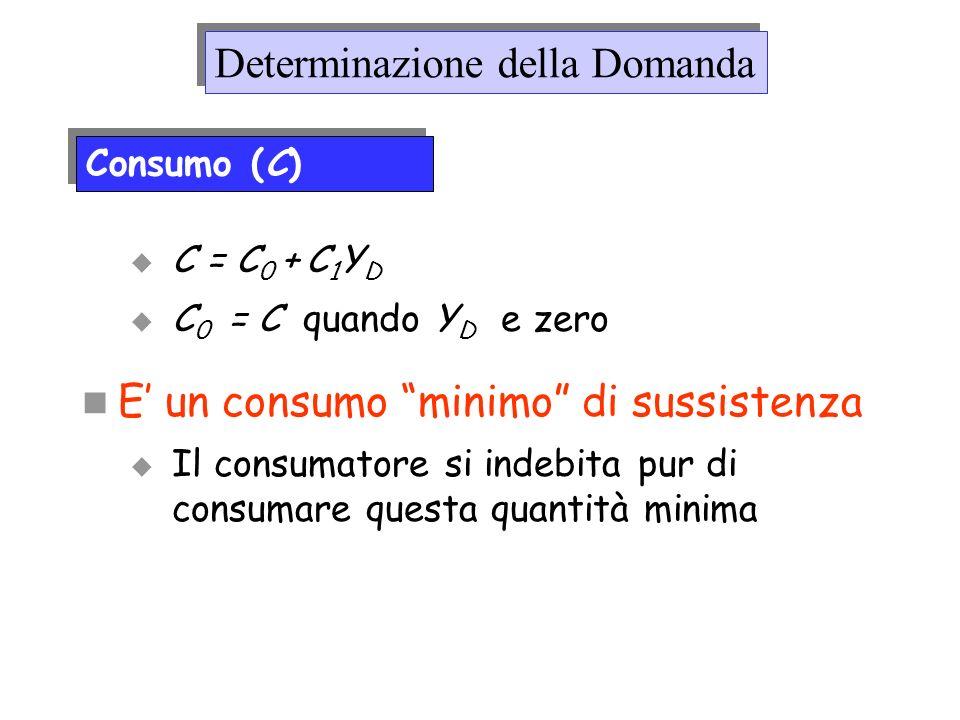 C = C 0 + C 1 Y D C 0 = C quando Y D e zero E un consumo minimo di sussistenza Il consumatore si indebita pur di consumare questa quantità minima Dete
