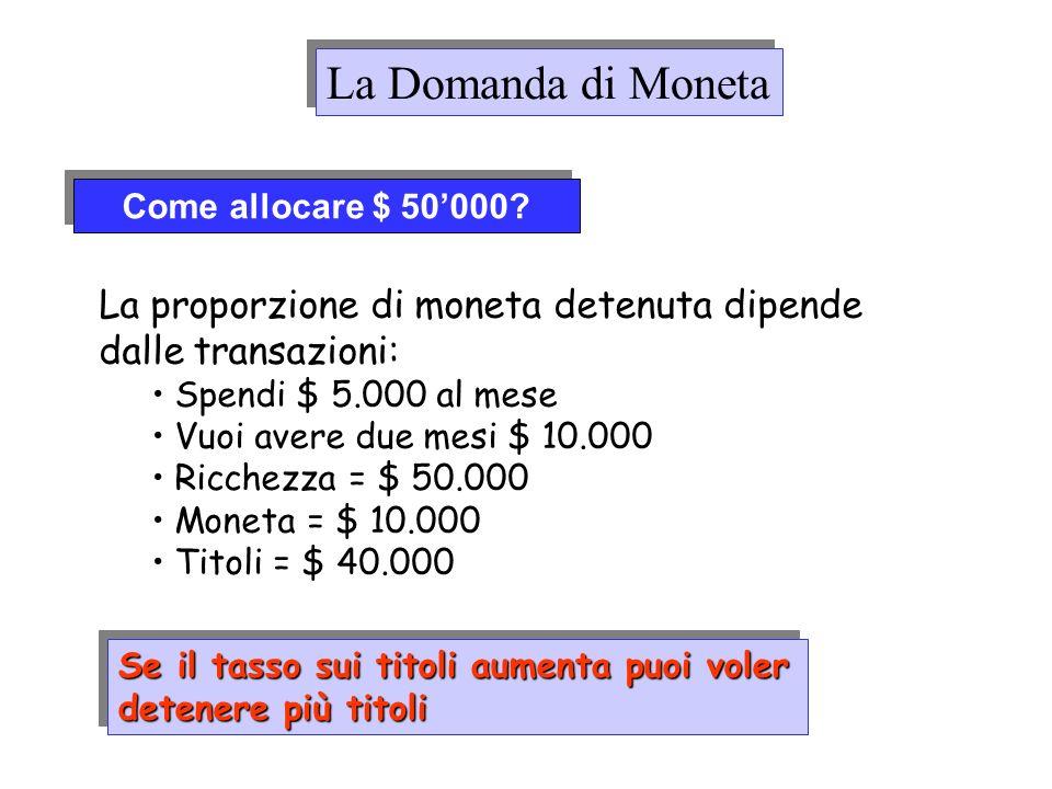 Come allocare $ 50000? La proporzione di moneta detenuta dipende dalle transazioni: Spendi $ 5.000 al mese Vuoi avere due mesi $ 10.000 Ricchezza = $