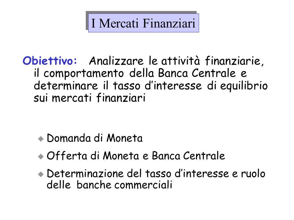 Obiettivo: Analizzare le attività finanziarie, il comportamento della Banca Centrale e determinare il tasso dinteresse di equilibrio sui mercati finan