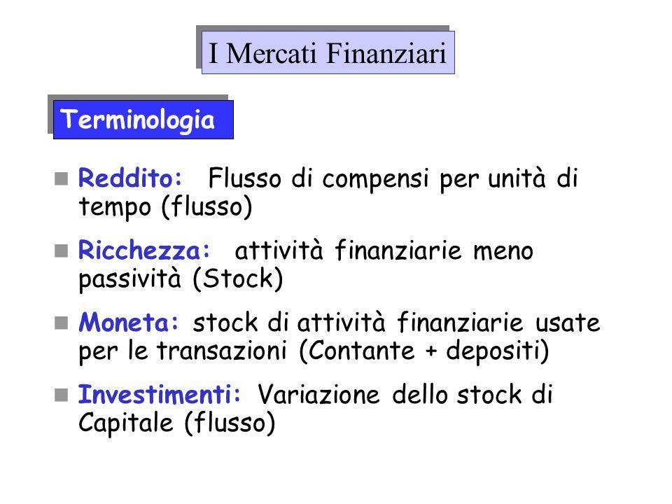 Reddito: Flusso di compensi per unità di tempo (flusso) Ricchezza: attività finanziarie meno passività (Stock) Moneta: stock di attività finanziarie u