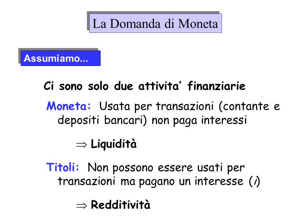 Moneta: Usata per transazioni (contante e depositi bancari) non paga interessi Liquidità Titoli: Non possono essere usati per transazioni ma pagano un