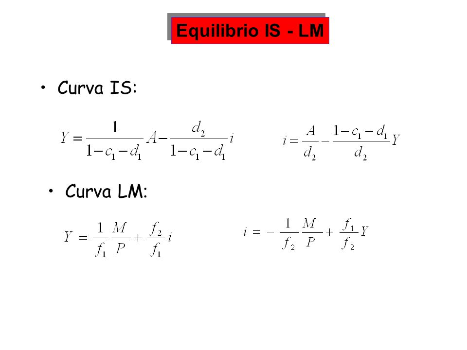 Curva IS: Equilibrio IS - LM Curva LM :