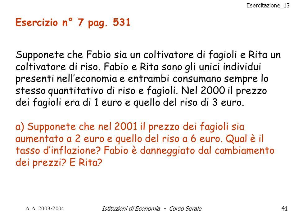 Esercitazione_13 A.A. 2003-2004Istituzioni di Economia - Corso Serale41 Esercizio n° 7 pag.