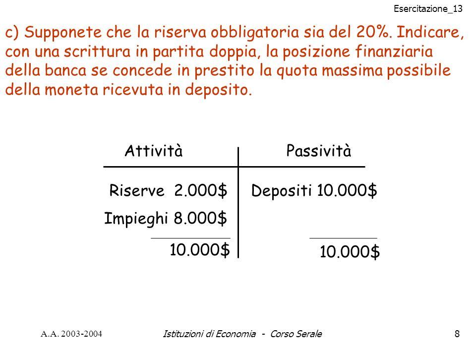 Esercitazione_13 A.A.2003-2004Istituzioni di Economia - Corso Serale39 N.B.