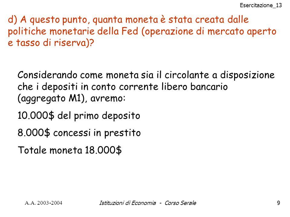 Esercitazione_13 A.A.2003-2004Istituzioni di Economia - Corso Serale20 Problema n° 12 pag.
