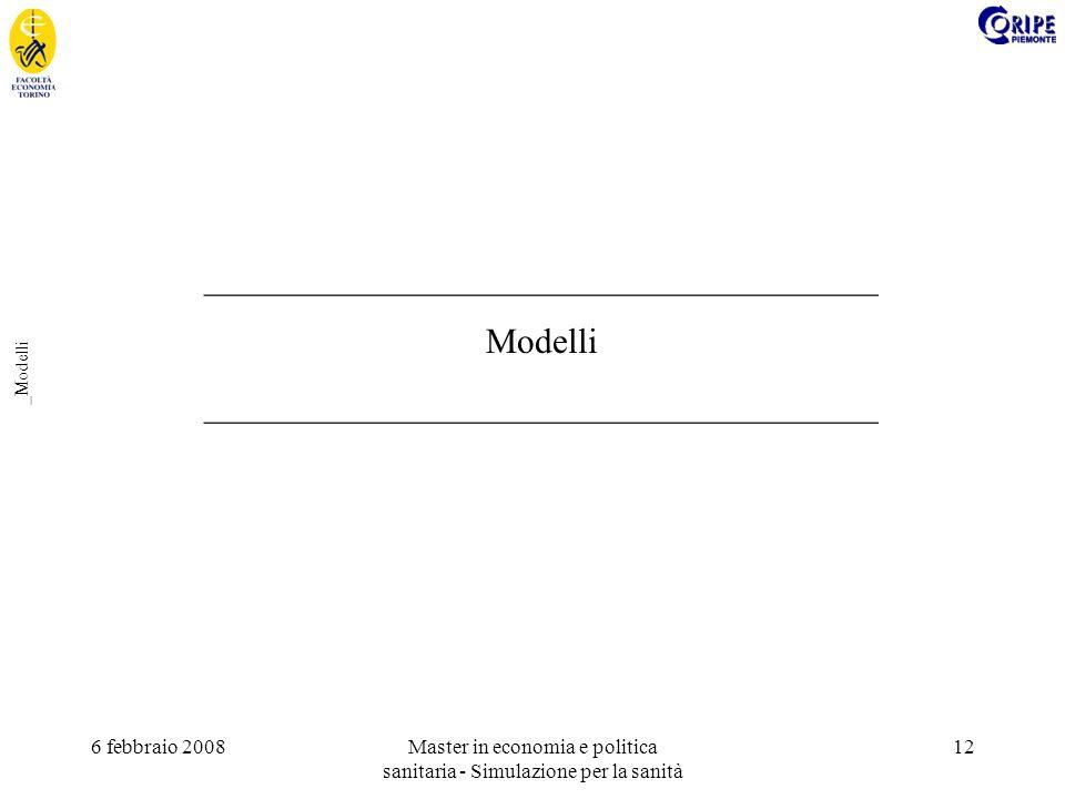 6 febbraio 2008Master in economia e politica sanitaria - Simulazione per la sanità 12 _Modelli ______________________________________ Modelli ______________________________________