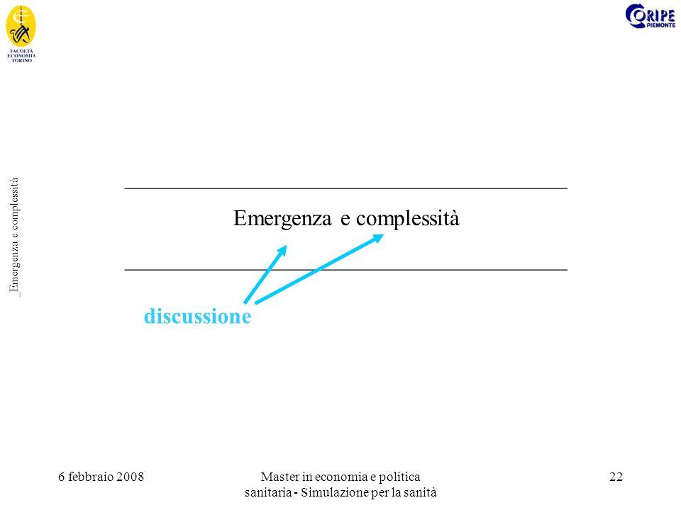 6 febbraio 2008Master in economia e politica sanitaria - Simulazione per la sanità 22 _Emergenza e complessità _______________________________________ Emergenza e complessità _______________________________________ discussione