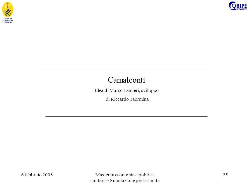 6 febbraio 2008Master in economia e politica sanitaria - Simulazione per la sanità 25 _______________________________________ Camaleonti Idea di Marco Lamieri, sviluppo di Riccardo Taormina _______________________________________
