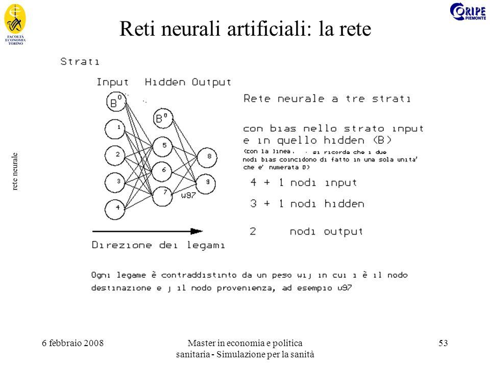 6 febbraio 2008Master in economia e politica sanitaria - Simulazione per la sanità 53 rete neurale Reti neurali artificiali: la rete