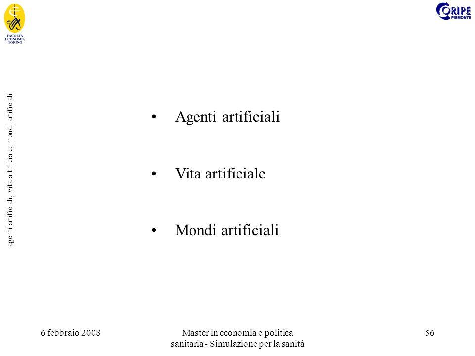 6 febbraio 2008Master in economia e politica sanitaria - Simulazione per la sanità 56 agenti artificiali, vita artificiale, mondi artificiali Agenti artificiali Vita artificiale Mondi artificiali