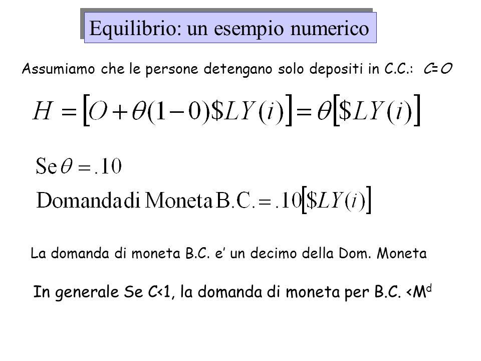 Assumiamo che le persone detengano solo depositi in C.C.: C=O La domanda di moneta B.C. e un decimo della Dom. Moneta In generale Se C<1, la domanda d