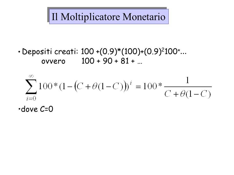 Depositi creati: 100 +(0.9)*(100)+(0.9) 2 100 *… ovvero 100 + 90 + 81 + … dove C=0 Il Moltiplicatore Monetario