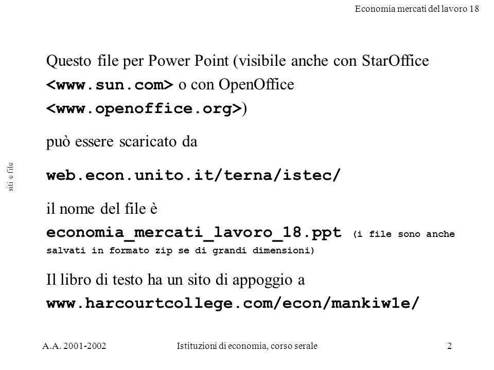 Economia mercati del lavoro 18 A.A. 2001-2002Istituzioni di economia, corso serale2 Questo file per Power Point (visibile anche con StarOffice o con O