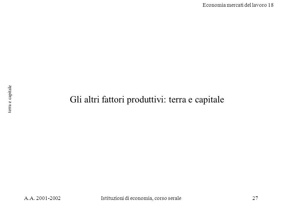 Economia mercati del lavoro 18 A.A. 2001-2002Istituzioni di economia, corso serale27 terra e capitale Gli altri fattori produttivi: terra e capitale