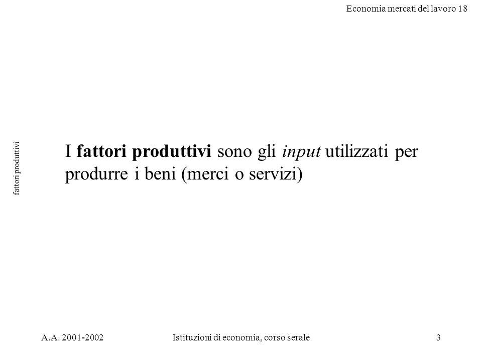 Economia mercati del lavoro 18 A.A. 2001-2002Istituzioni di economia, corso serale3 fattori produttivi I fattori produttivi sono gli input utilizzati