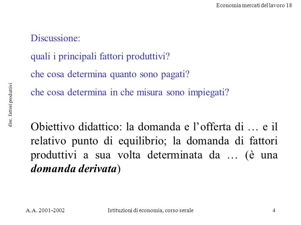 Economia mercati del lavoro 18 A.A. 2001-2002Istituzioni di economia, corso serale4 disc. fattori produttivi Discussione: quali i principali fattori p